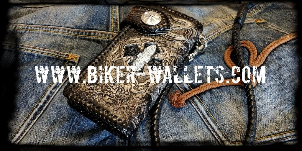 """Crowley"" 8"" Custom Handmade Black Stingray and Leather Men's Biker Wallet"