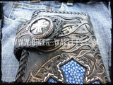 """Crowley"" 8"" Custom Handmade Blue Stingray Men's Biker Wallet - Biker Wallets"