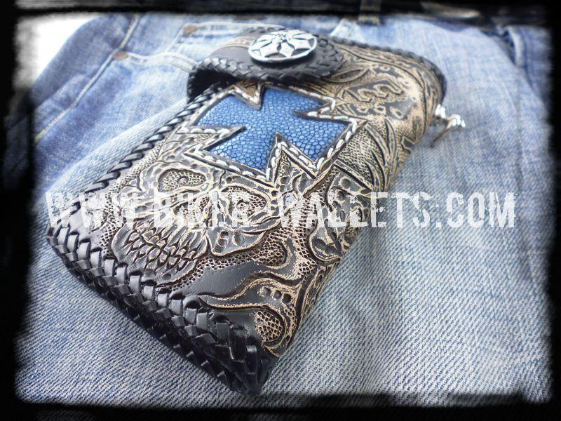 """Crowley"" 6"" Custom Handmade Blue Stingray Men's Biker Wallet"