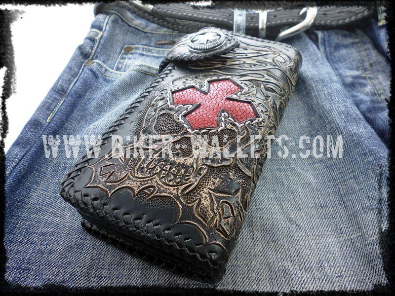 Crowley 8 Custom Handmade Red Stingray Men's Biker Wallet - Handcrafted Quality Genine Leather Backed by a 5-Year Warranty - Biker-Wallets.com