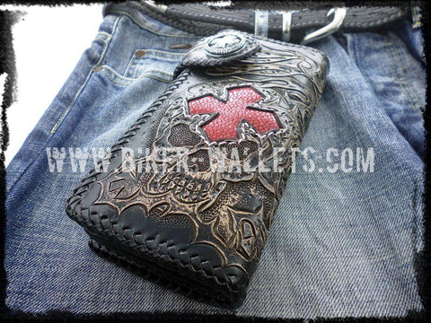 """Crowley"" 8"" Custom Handmade Red Stingray Men's Biker Wallet"