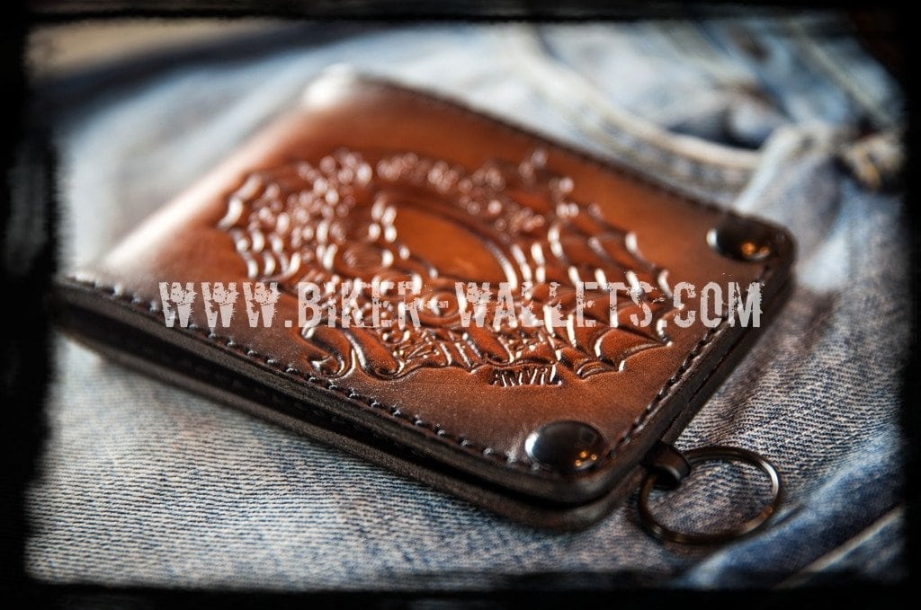 """Cruisin For A Bruisin"" 5"" Custom Handmade Leather Biker Wallet - Biker Wallets"