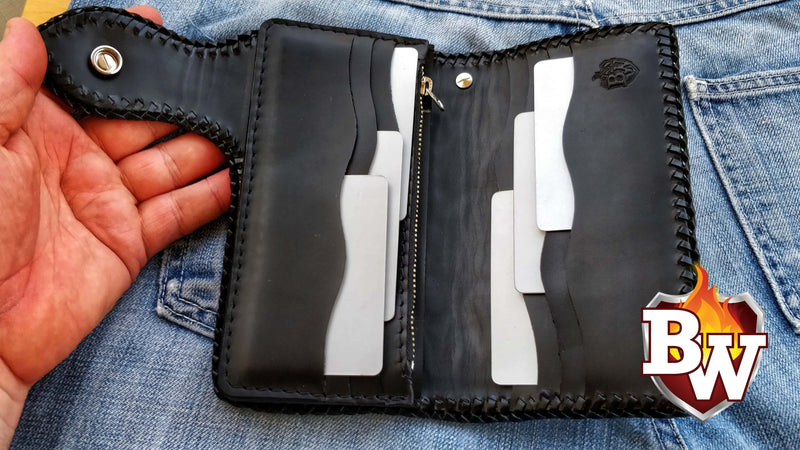 Crypt 6-inch  Leather Men's Biker Wallet | Custom Handmade Men's Leather Wallets at Biker-Wallets.com