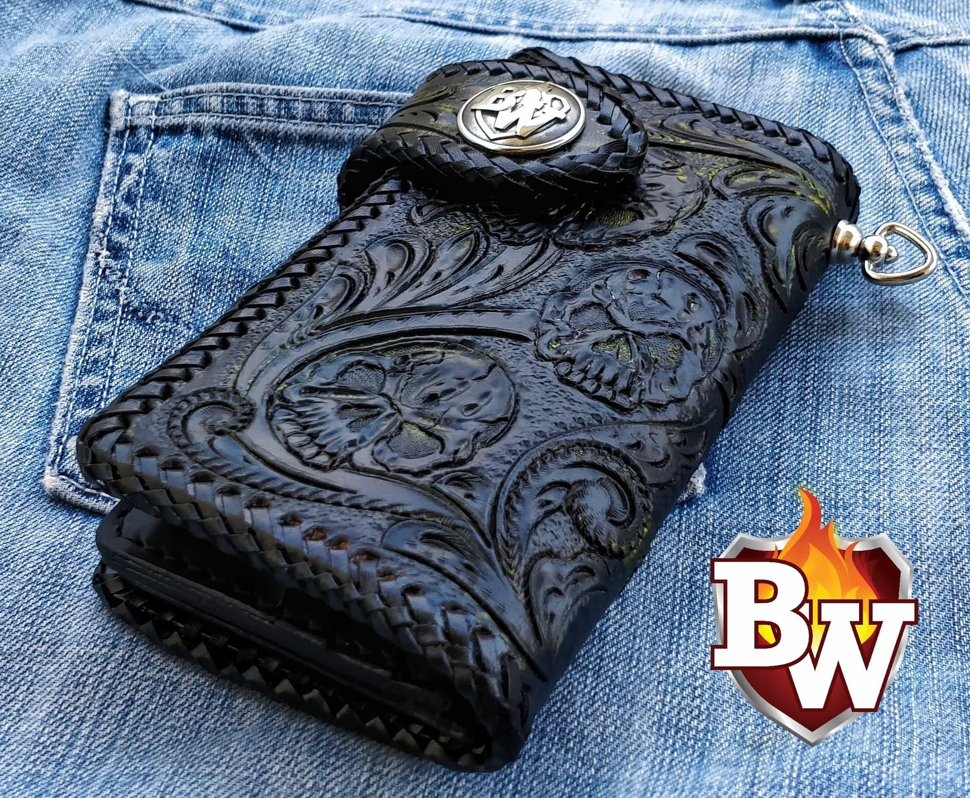 """Crypt"" 6"" Custom Handmade Leather Men's Biker Wallet"