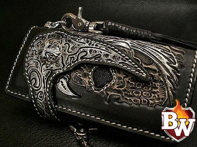 Black 11 Skulls 8-inch Evil Custom Handmade Custom Biker Chain Wallets | Custom Handmade Men's Leather Wallets at Biker-Wallets.com
