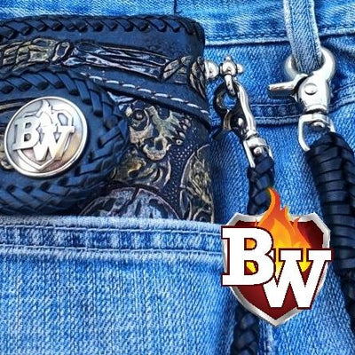"""Crypt Western"" 8"" Custom Handmade Hand Tooled Leather Men's Biker Wallet"