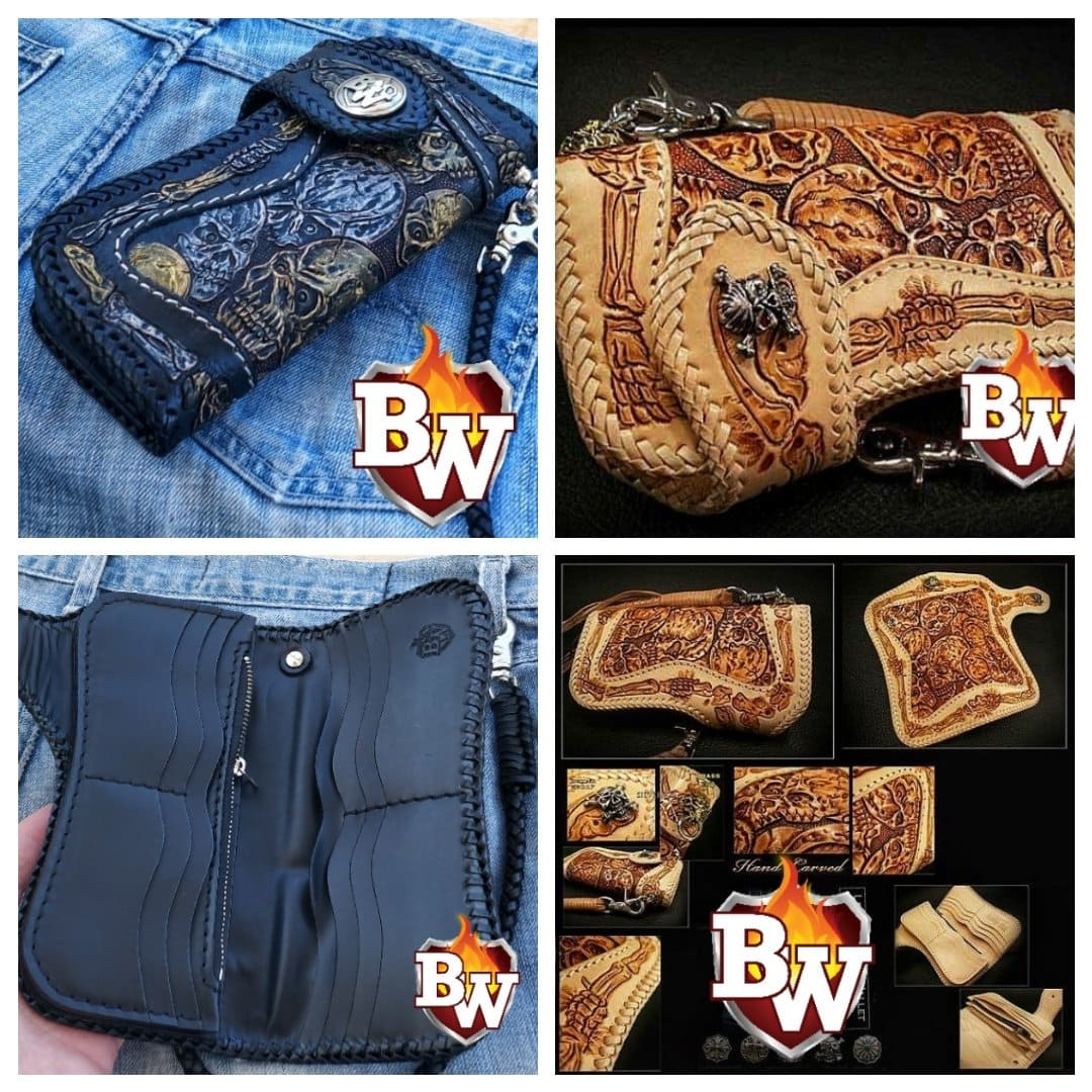 """Crypt Western"" in Black 8"" Custom Handmade Hand Tooled Leather Men's Biker Wallet"