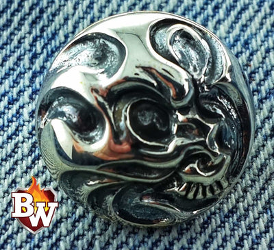 Tiny Skulls  .925 Silver Snap Concho Cap For Biler Wallet | Custom Handmade Men's Leather Wallets at Biker-Wallets.com