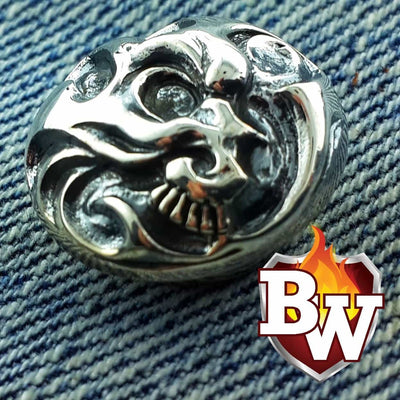 Skulls  .925 Silver Snap Concho Cap For Biler Wallet | Custom Handmade Men's Leather Wallets at Biker-Wallets.com