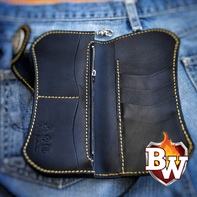 """Curvaceous"" 8"" Handmade Leather Biker Wallet"