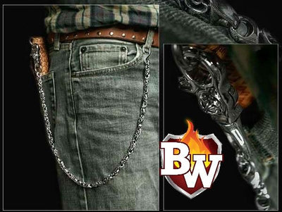 Cylinders 2-inch Custom .925 Silver Men's Biker Wallet Chain | Custom Handmade Men's Leather Wallets at Biker-Wallets.com