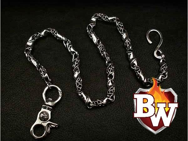"""Cylinders 2"" Custom .925 Silver Men's Biker Wallet Chain"