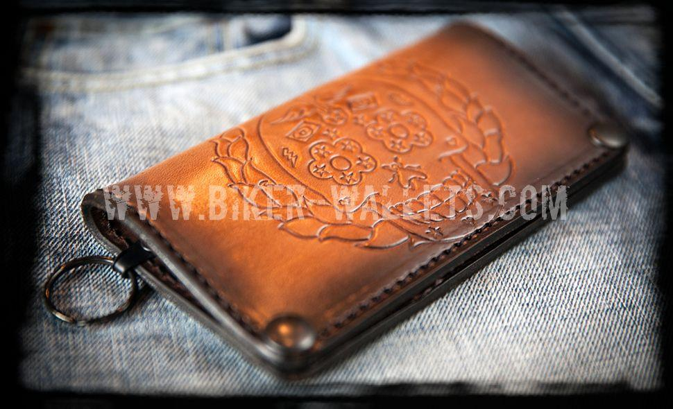 """Daisy Eyed"" 8"" Custom Hand Tooled Handmade Brown Leather Biker Wallet - Biker Wallets"