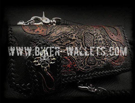 """Damnation"" 8"" Custom Handmade Hand Tooled Leather Men's Biker Wallet - Biker Wallets"