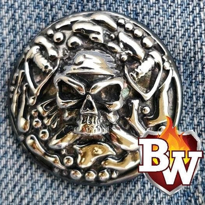 The Peeker Skulls  .925 Silver Snap Concho Cap for Biker Wallet | Custom Handmade Men's Leather Wallets at Biker-Wallets.com