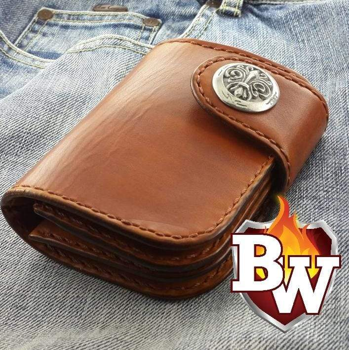 """De Niro"" 5"" Brown Saddle Leather Handmade Custom Biker Wallet"