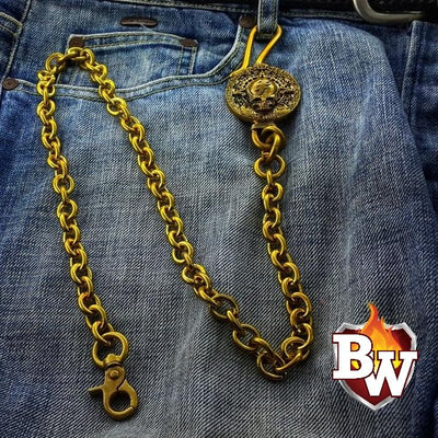 Dead Head Custom Brass Men's Biker Wallet Chain | Custom Handmade Men's Leather Wallets at Biker-Wallets.com