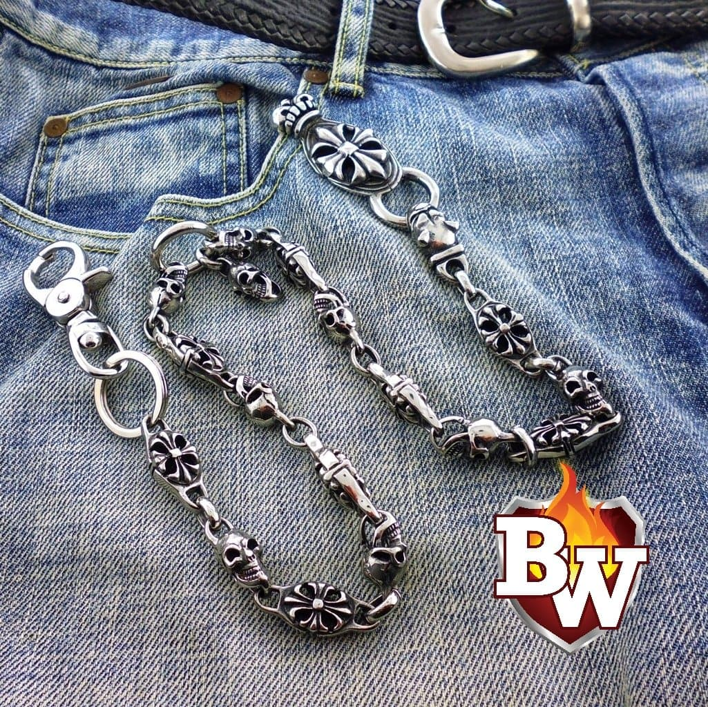 Pit Bull 316L Stainless Steel Men's Biker Wallet Chain | Custom Handmade Men's Leather Wallets at Biker-Wallets.com