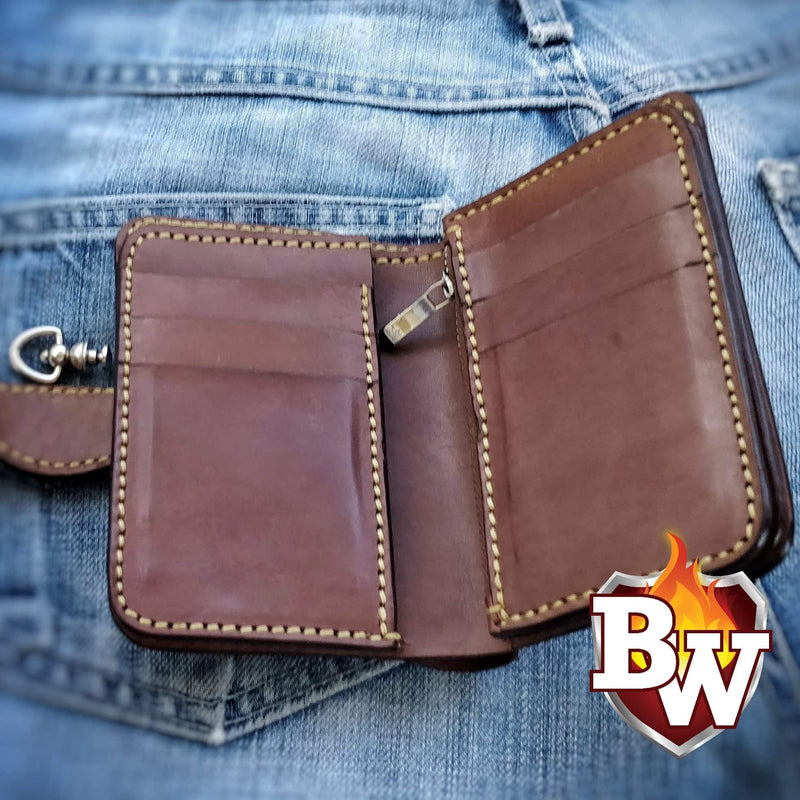 """Buck Skin Lodge"" 5"" Deer Skin Biker Wallet"