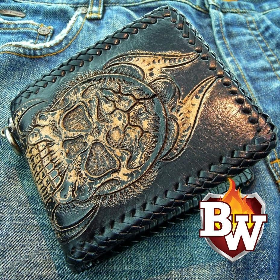 Demon Alcohol 4-inch  Leather Men's Biker Wallet | Custom Handmade Men's Leather Wallets at Biker-Wallets.com