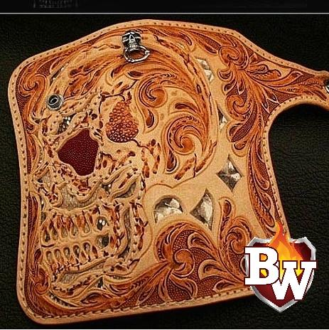 """Demon Skull"" 8"" Custom Handmade Hand Tooled Stingray and Leather Men's Biker Wallet"