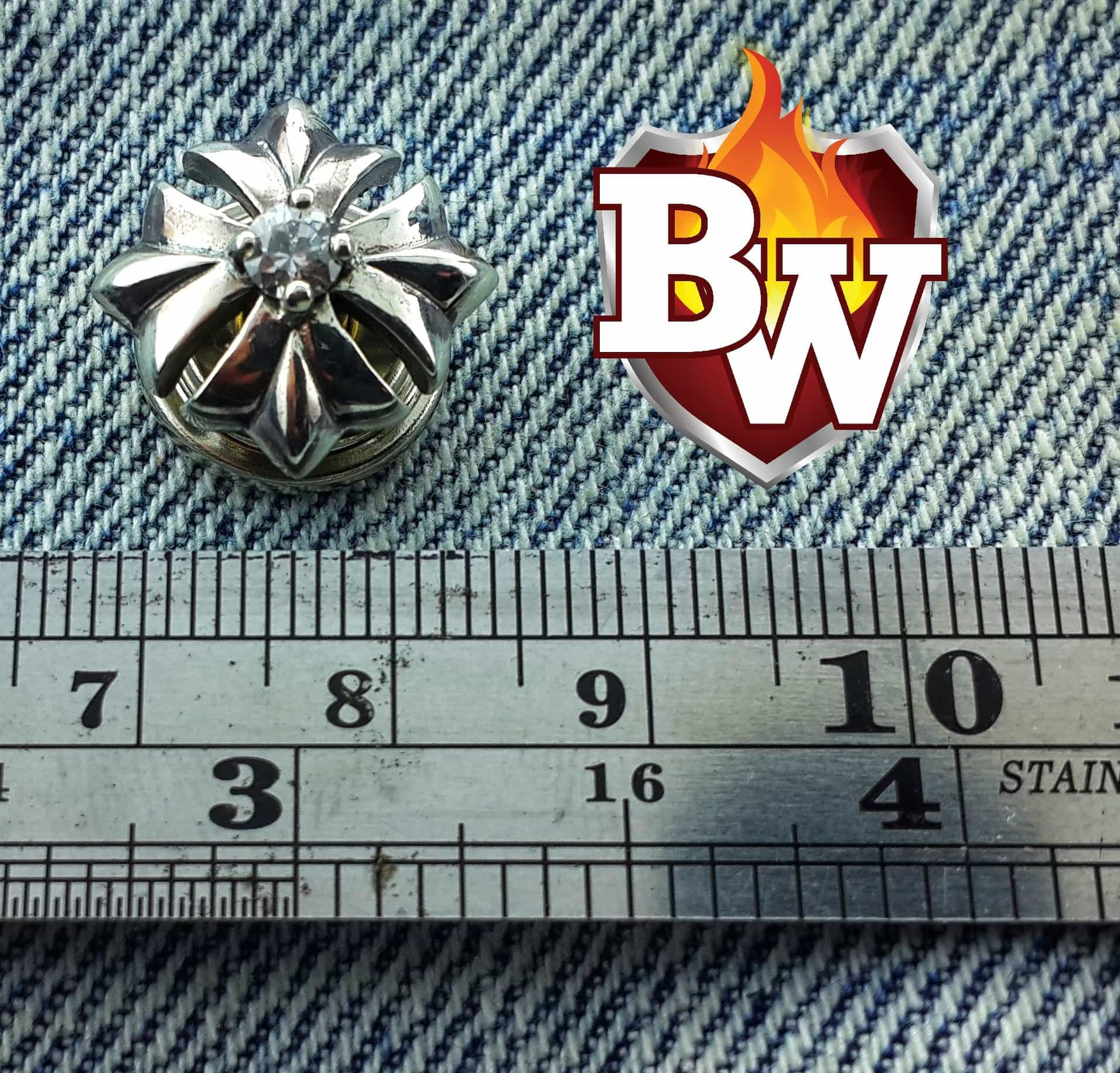 """Diamond"" .925 Silver Snap Concho Cap for Custom Biker Wallet"