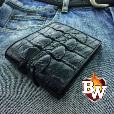 Brown Crocodile Hand Stitched Dr. Evil 5-inch Crocodile  Men's Biker Chain Wallet | Custom Handmade Men's Leather Wallets at Biker-Wallets.com