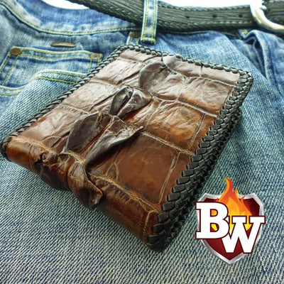 Blue Crocodile Hand Stitched Dr. Evil 5-inch Crocodile  Men's Biker Chain Wallet | Custom Handmade Men's Leather Wallets at Biker-Wallets.com