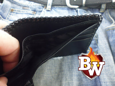 Dr. Evil 5-inch Crocodile  Men's Biker Chain Wallet | Custom Handmade Men's Leather Wallets at Biker-Wallets.com