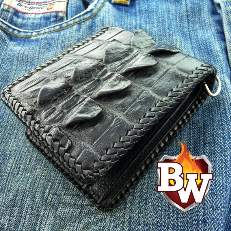 Black Crocodile Hand Stitched Dr. Evil 5-inch Crocodile  Men's Biker Chain Wallet | Custom Handmade Men's Leather Wallets at Biker-Wallets.com