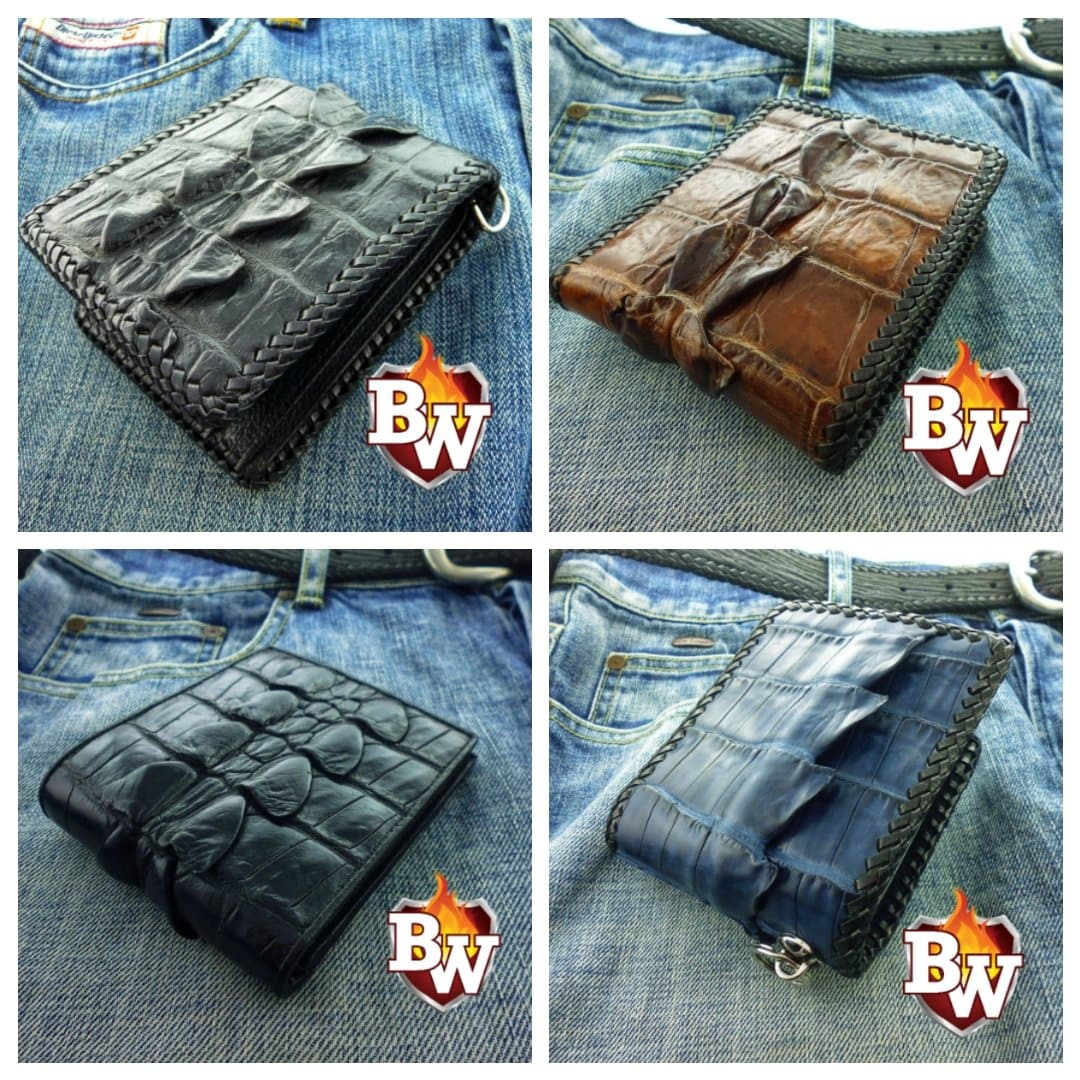 """Dr. Evil"" 5"" Crocodile Custom Handmade Men's Biker Chain Wallet"