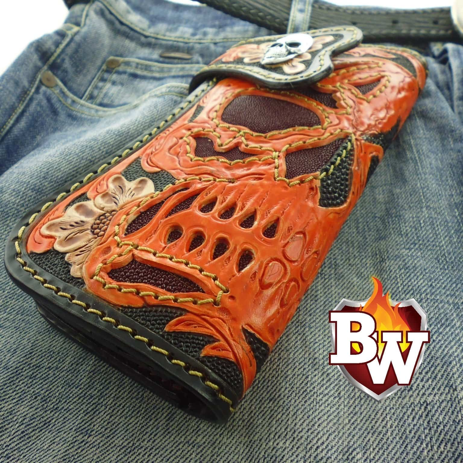 """Duality"" Custom Handmade Stingray Men's Biker Wallet 8"""
