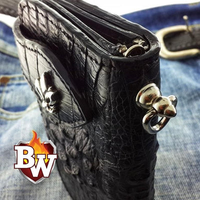 """Dundee"" Black 6"" Custom Handmade Men's Biker Chain Wallet"