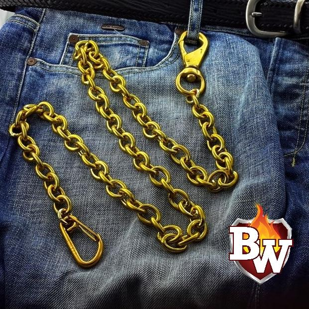 El Brasso Custom BRASS Men's Biker Wallet Chain | Custom Handmade Men's Leather Wallets at Biker-Wallets.com
