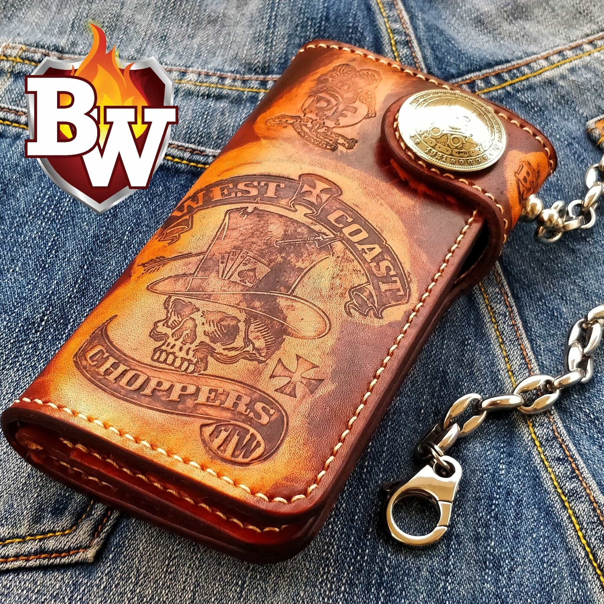 """Embosser FREESTYLE"" 8"" Handmade Custom Leather Biker Wallet"