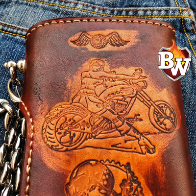 """Embosser "" 8"" Handmade Custom Leather Biker Wallet"
