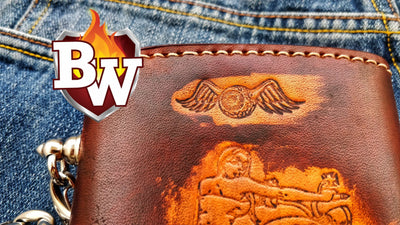 Embosser 8-inch Custom Handmade Custom Leather Biker Wallet | Custom Handmade Men's Leather Wallets at Biker-Wallets.com