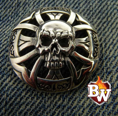 Fleur Skulls  .925 Silver Snap Concho Cap For Biler Wallet | Custom Handmade Men's Leather Wallets at Biker-Wallets.com