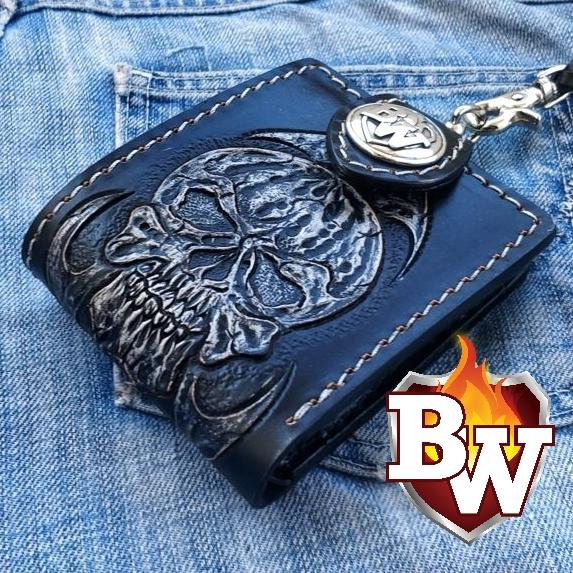 """Evil"" 5"" Custom Handmade Hand Tooled Leather Biker Wallet"