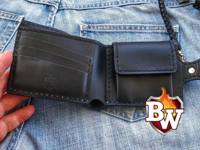 Evil 5-inch  Hand Tooled Leather Biker Wallet | Custom Handmade Men's Leather Wallets at Biker-Wallets.com
