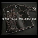 """Evil 2"" 8"" Custom Handmade Hand Tooled Leather Men's Biker Wallet - Biker Wallets"