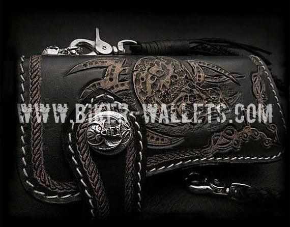 Evil 2 8 Custom Handmade Hand Tooled Leather Men's Biker Wallet - Handcrafted Quality Genine Leather Backed by a 5-Year Warranty - Biker-Wallets.com
