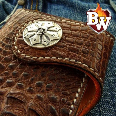 Exotic Slim 8-inch  Men's Biker Chain Wallet | Custom Handmade Men's Leather Wallets at Biker-Wallets.com