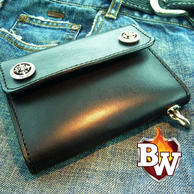"""Fat Boy"" 5"" Custom Handmade Black Leather Biker Wallet"