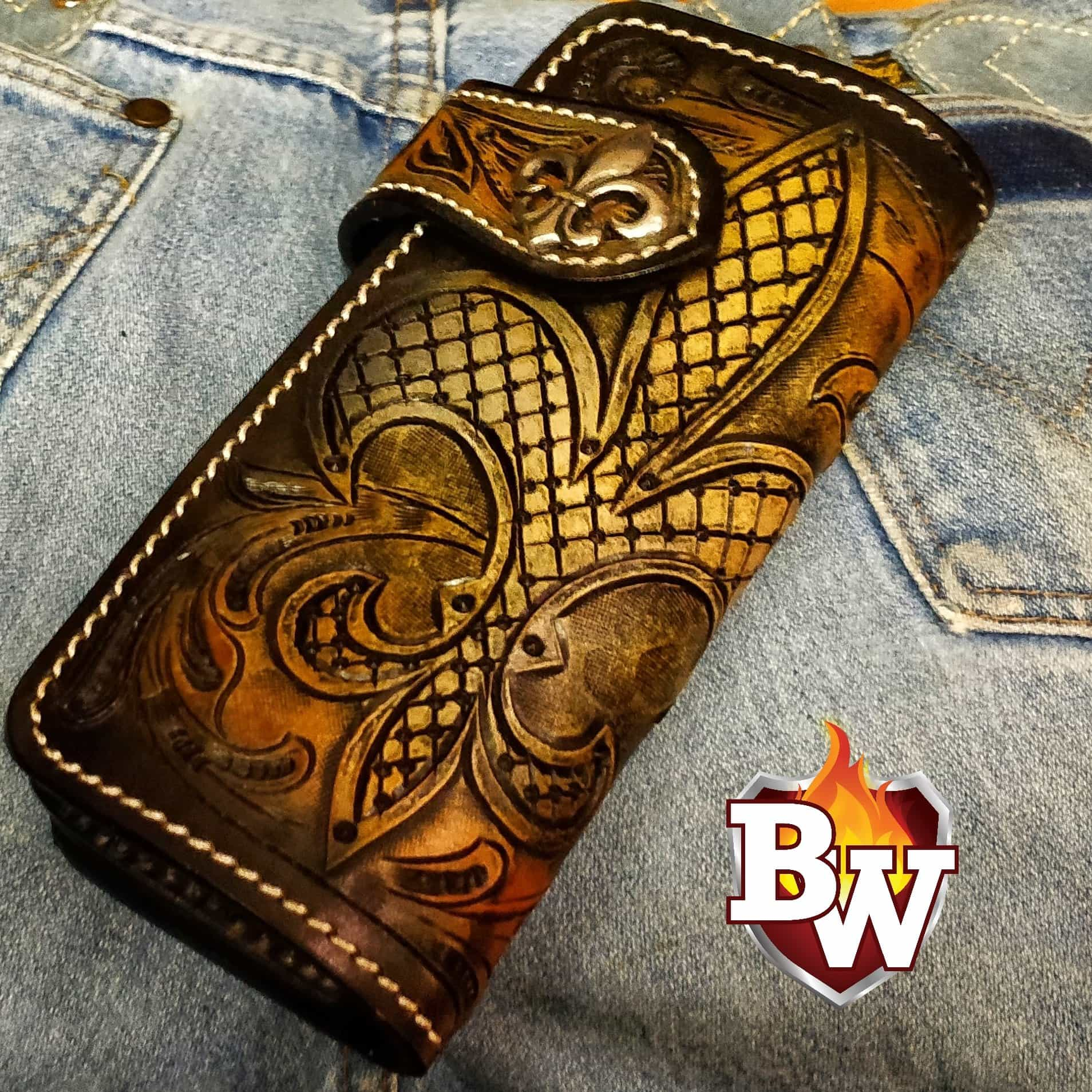 "FDL 8"" Hand Tooled Handmade Leather Biker Wallet"