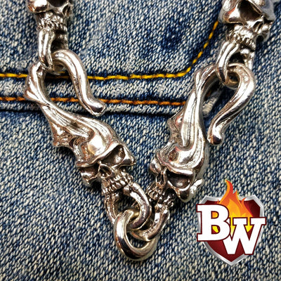 Flaming Skull .925 SILVER MEN'S BIKER WALLET CHAIN | Custom Handmade Men's Leather Wallets at Biker-Wallets.com