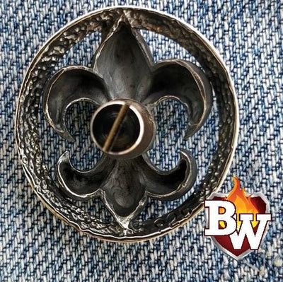 Fleur-de-lis -  set 1 - .925 Silver Snap Concho Cap for Biker Wallet | Custom Handmade Men's Leather Wallets at Biker-Wallets.com