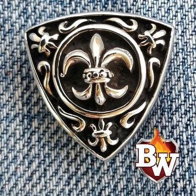 Fleur-de-lis 3 Fleur-de-lis -  set 1 - .925 Silver Snap Concho Cap for Biker Wallet | Custom Handmade Men's Leather Wallets at Biker-Wallets.com