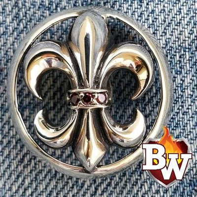 Fleur-de-lis 2 Fleur-de-lis -  set 1 - .925 Silver Snap Concho Cap for Biker Wallet | Custom Handmade Men's Leather Wallets at Biker-Wallets.com