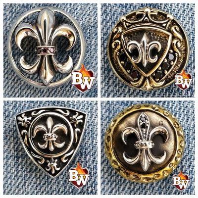 Fleur-de-lis 1 Fleur-de-lis -  set 1 - .925 Silver Snap Concho Cap for Biker Wallet | Custom Handmade Men's Leather Wallets at Biker-Wallets.com